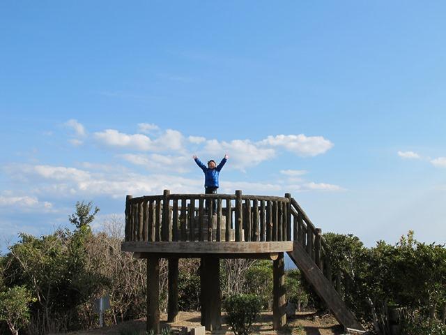 金比羅山の展望台にて甥っ子万歳