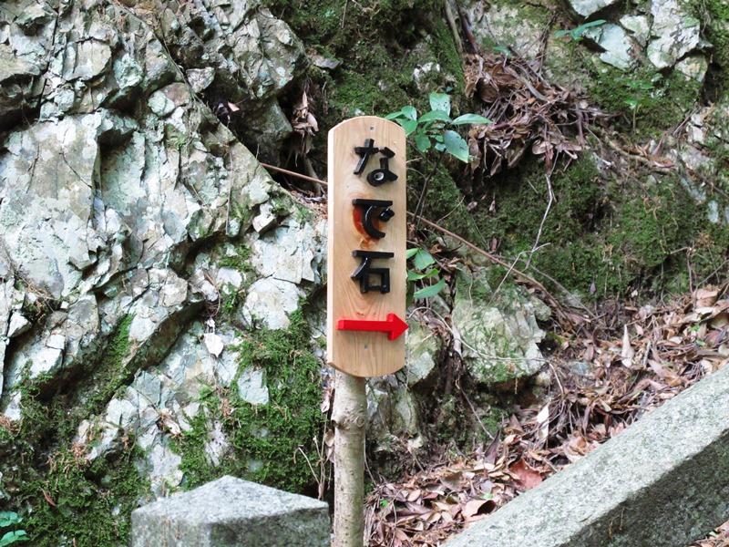子安地蔵横(大師堂階段下)の「撫で石」への案内立札